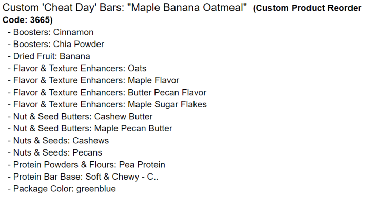 Bar Shack Ingredietns